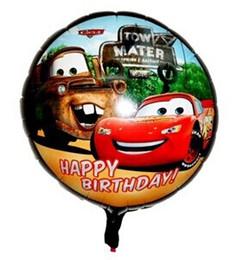 Wholesale Cartoon Aluminum Happy Birthday Decoration Cars Round Balloon for Wedding Party Supplies Foil Ballon inch