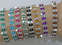 Wholesale Hot IN STOCK Dual Row Colorful Spring Row Rhinestone Bracelet Tennis Color z311