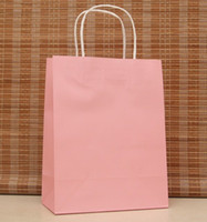 Paper Hand Length Handle Kraft Paper Fashion gift paper bag,27*21*11CM,Pink paper bag with handle, Christmas bag, Wholesale price, Free shipping AA-324