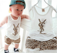 Wholesale The new summer vest suit children leopard print letters Children s clothing manufacturers direct shipment