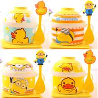 Porcelain ECO Friendly Cartoon Instant Noodles Bowl Set Cartoon Instant Noodles Bowl Set Happy Life Ceramic Instant Noodles Cup Soup Bowl Children Bowl SH780