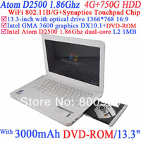 7-7.9'' Windows 7 Wifi 13.3 Inch Cheap Laptop Notebook PC with DVD-ROM classic model with Intel Atom Dual Core D2500 1.86G 802.11 B G 4G RAM 750G HDD