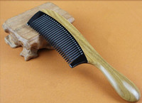 Wholesale diaphanous handmade Natural ox horn Green sandalwood comb wooden handle combs hair style cm cm for ladies