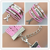 Charm Bracelets faith bracelet - Hot Fashion Charms Believe Faith Hope Breast Cancer Awareness Bracelets Personality Bracelets Handmade Jewellery