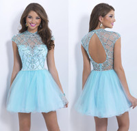 Wholesale 2014 New Charming Homecoming Dresses With Crew Beads Crystal Backless Cap Sleeve A Line Short Light Sky Blue Blush Prom Party Cocktail Gowns