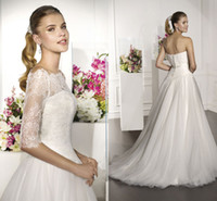 A-Line Reference Images Bateau Sexy Villais 2014 Sweetheart A Line Wedding Dresses With Lace Jacket Tulle Lace Backless Sweep Train Bridal Gown