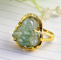 Wholesale New pattern fashion Jade Buddha k gold plated finger ring men and women wedding ring gift not fade USA SIZE