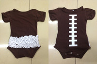Spring / Autumn photos clothes - Kids Clothes Football Onesie Ruffle Bodysuit Brown Cotton Baby Superbowl Outfit cotton romper photo prop