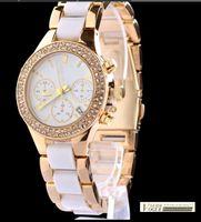 Wholesale Luxury New kors Gold Double Rhinestone alloy resin Watches Women Ladies dress watches clock Quartz WristWatches
