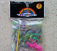 3 & 4 Years Multicolor Plastic Glow In The Dark Colorful Loom Bands ( 300 band 1 Y loom 1 hook 12 s clips ) sigle color or mixed Refill Rubber Band With S Clips 1000pcs