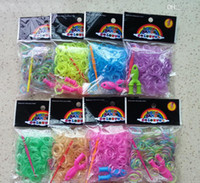 3 & 4 Years Multicolor Plastic Glow In The Dark Colorful Loom Bands ( 300 band 1 Y loom 1 hook 12 s clips ) sigle color or mixed Refill Rubber Band With S Clips