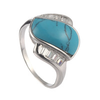 Wholesale Trendy R r sz White Cubic Zirconia and Turquoise Classic S sterling Silver ring