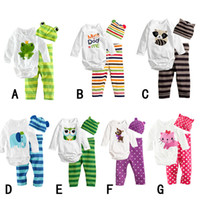 Wholesale Toddler newborn baby romper pieces clothing sets cotton one piece long sleeve hat body pant
