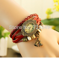 Wholesale 2014 New China CHEAP Leather Vintage Wrist Watch Women Dress Bracelet Watch Girls Ladies Cute BELL Watches Dropshipping Hot Sales Xmas Gift