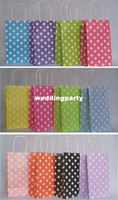 Paper Hand Length Handle Kraft Paper Free Shipping Wholesale Fashion Polka Dot Kraft Paper Gift Bag With Handles 21cmX13cmX8cm