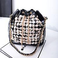 Wholesale Handbags multifunction buttons cylinder coin bucket bag handbag chain handbag shoulder diagonal package