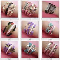 bicycle love - Mix Style Infinity Bracelet Believe Cross Anchor Love Jesus Owl Bicycle Multilayer Hot Selling