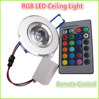 Wholesale 20PC FEDEX W RGB Ceiling Downlight Remote Recessed Cabinet Lamp Ceiling Spot Down Light RGB W