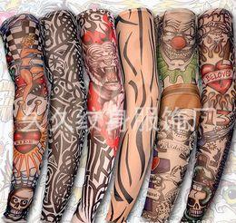 Wholesale wholesalenew mixed Nylon elastic Fake temporary tattoo sleeve designs body Arm stockings tatoo for cool men women