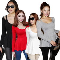 Women Polo Tops Newest Hot Selling Free Shipping Black White Grey Red Women Fashion Low Crew-Neck Long Sleeve Peplum Top Blouse Cute Tee T-Shirt