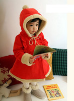 Coat Girl Spring / Autumn Free shipping Christmas red hair bulb girls coat winter thickening hooded overcoat NANTONGR006