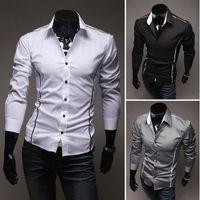 Men Cotton Shirts Fashion Mens Luxury Slim Fit Stylish Long Sleeve Casual Polo Shirts Business Shirt Black White Grey Plus Size M-XXL # L0341036