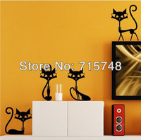 Wholesale black fashion cat wall stickers living room decor tv wall decor decor child bedroom wall stickers