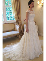 Wholesale Top Sellers High Quality Custom made A Line Princess Short Sleeve Sheer Bateau Lace Bow Ribbon Court Train Brazilian Wedding Dresses