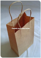 Paper Household Yes Wholesale - Size 21x13x8cm Brown Paper Shopping Bag Kraft Paper Bags With Handle Free Shipping