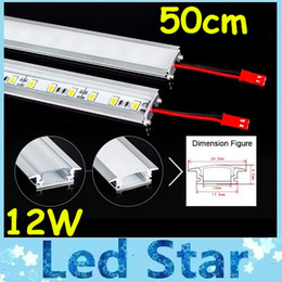 Tube 50cm Led Light Bar Type U en alliage d'aluminium slot 12W Strips LED rigide lumière chaude / Pur / Cool White 72Leds / M 5630 SMD LED dur Bandes LED 12V