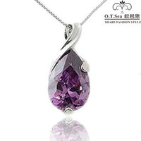 Wholesale 100 pure sterling silver platinum amethyst blue topaz pendant necklace wedding jewelry GSN052