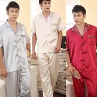 Men Tops Long Johns Korean Mens Faux Silk Pajama Sets Sleepwear Pajamas Stylish Shirt Pants Trousers Free Shipping & Drop Shipping