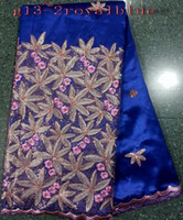 Wholesale Newest price royal blue african fabric with graceful big grass blade design and high quality george lace