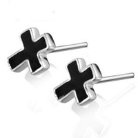 Wholesale Kastm Brand Real Sterling Silver Platinum black onyx cross stud earrings fine jewelry promotion kse058