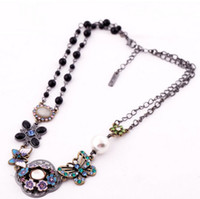 Women's Fashion Necklaces 2014 New Arrival Vintage Flower Chain Sweater Necklace for Women with Artificial Diamond Decorated Butterfly Pendant Wholesale