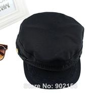 Wholesale Classic Plain Vintage Cotton Hat Patrol Visors Cap Adjustable Black Color For Men And Women
