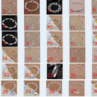 Wholesale 42PCS Mix Order Sterling Silver Plated Fashion Bracelets Jewelry MB006