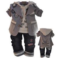 Wholesale Retail set spring autumn children boys casual clothing suits coat hoodies jeans baby set