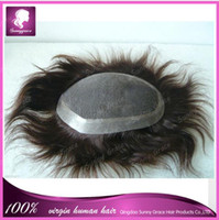 Wholesale Cheap human hair unprocessed Brazilian hair a virgin straight Man Toupee remy human hair toupee in different size