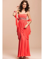Cheap 2014 Fashion Peplum Strapless Ankle-Length Evening Dresses A-Line Sleeveless Lace-up Chiffon Prom Gown Waist Sparkle Crystal Sash MIC