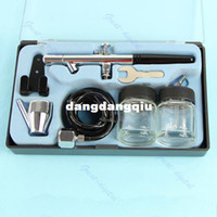 Nail Art Stamping Machine New D2846 Wholesale-Dual action Air Brush Kit Paint Spray Gun Tool Craft Nail Art Cake Decorating