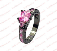 Wholesale Jewellery Fashion Brand new lady s pink sapphire KT Black Gold Filled Ring size gift
