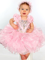 Reference Images Girl Beads 2014 New Spaghetti Crystal Sequins Flower Girl's Pageant Dresses Ruffles Formal Mini Short Skirt Infant Little Kids Ball Gowns Cupcakes