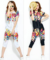 Women Pullover Crew Neck 2014 New Arrival Europe Summer Women Printing Cardigan 2pcs Sets Black White Floral Round Neck Short Sleeve Casual Shirt Pants suit E0201