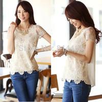 Cotton Women  Hot Korea Style Summer Women Chiffon Lace Tops Beading Embroidery O-Neck Tops Blouse M, L, XL, XXL