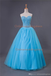 Wholesale In Stock Dresses Sweetheart Quinceanera Dresses Beads Crystals Floor Length Tulle Ball Gown Prom Dresses Sweet Dresses