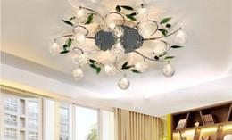 Wholesale Crystal Leaves Aluminium Glass Balls Shade Ceiling Light Pendant Lamp Chandelier
