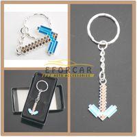 Wholesale 500x New Silver Blue Minecraft Diamond Pickaxe Metal Key Chain Keychains Keyrings Key Ring brand new good quality