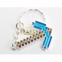Wholesale 20x Silver Blue Minecraft Diamond Pickaxe Metal Key Chain Keychains Keyrings Key Ring