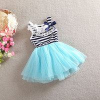baby girl kids stripe striped dress lace dress rose flower t...